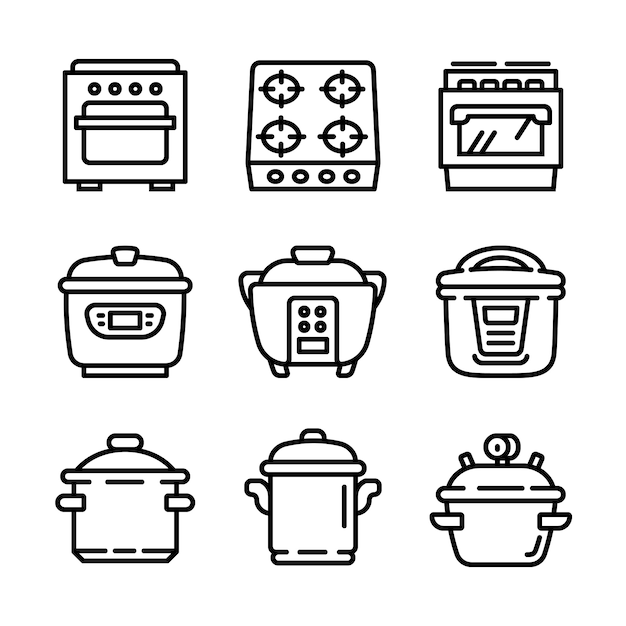 Cooker icon set, outline style Premium Vector