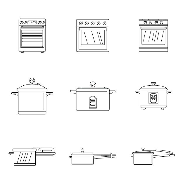 Cooker oven stove pan icons set Premium Vector