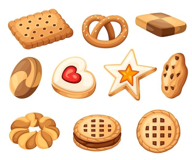 Коллекция иконок печенье и печенье. набор красочных плоских печенья. круг, звезда, бутерброд, разная форма. иллюстрация, изолированные на белом фоне. Premium векторы