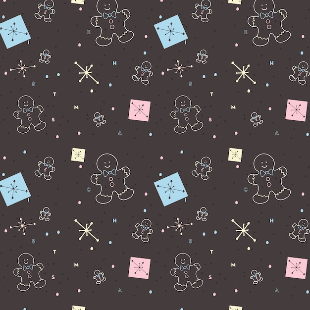 Cookie and snowy christmas pattern Premium Vector