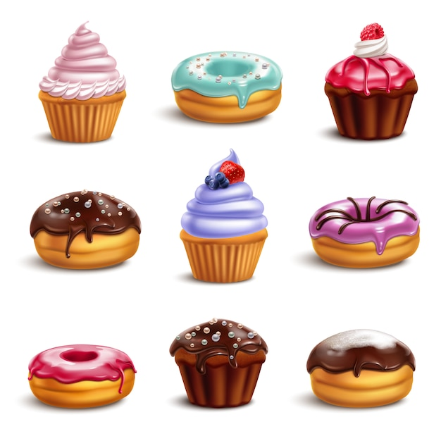 Cookie sweets icon set Free Vector