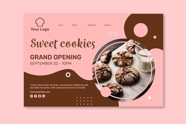 Cookies ad landing page template Premium Vector