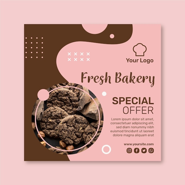 Cookies ad square flyer template Premium Vector