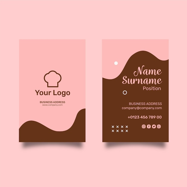 Cookies ad vertical business card template Free Vector