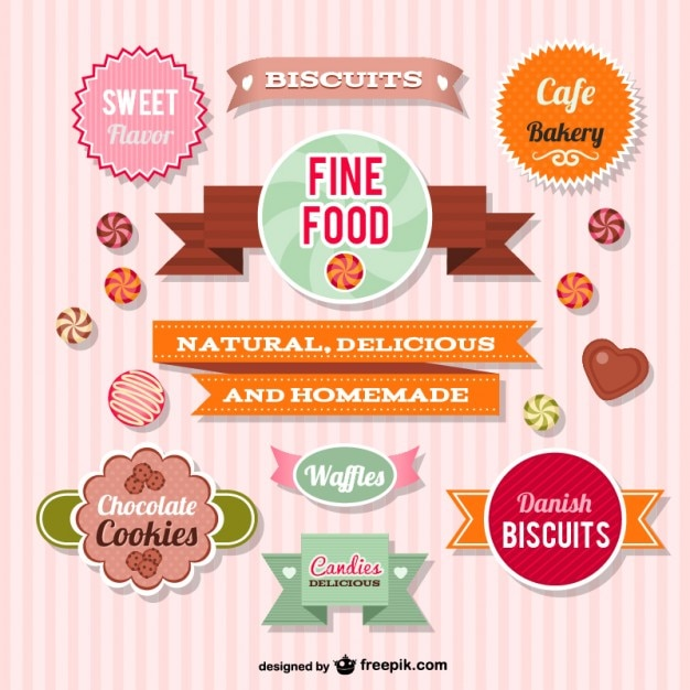 Cookies badges collection Free Vector