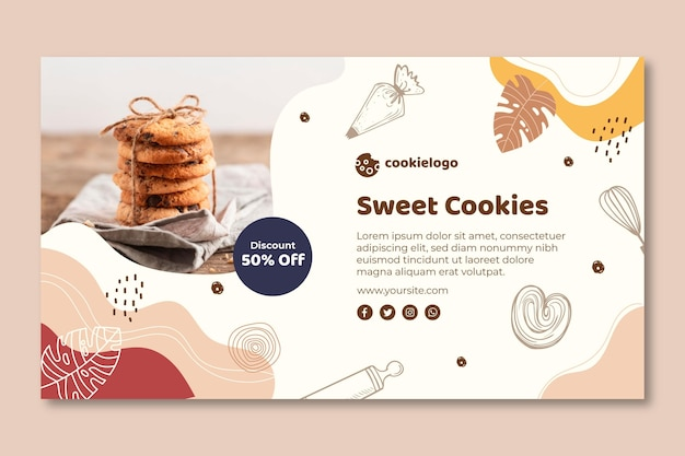 Cookies banner template theme Free Vector