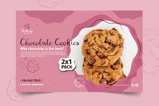 Cookies banner template with photo Free Vector