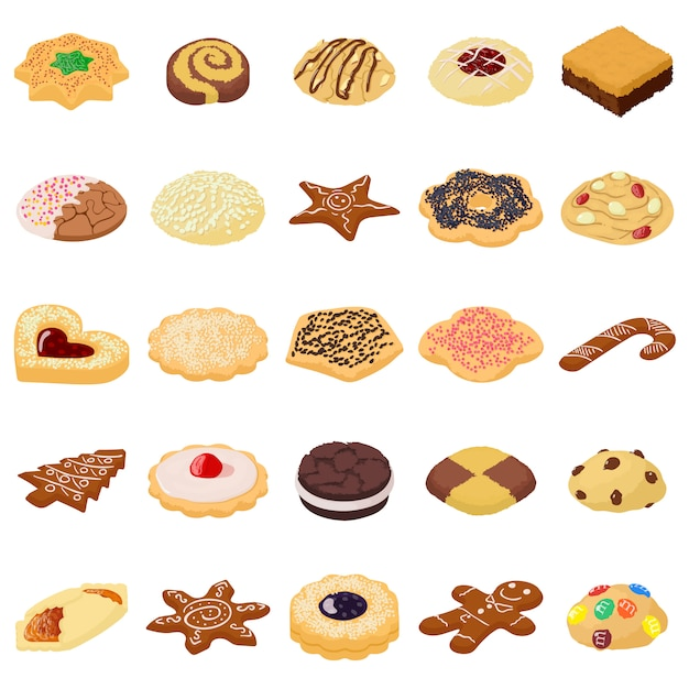 premium vector cookies biscuit icons set isometric illustration of 25 cookies biscuit vector icons for web https www freepik com profile preagreement getstarted 4292516
