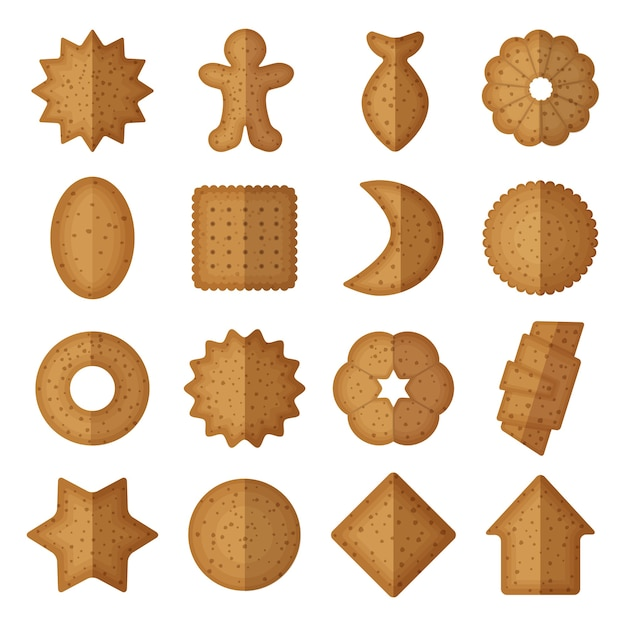 Cookies in different shapes. Free Vector