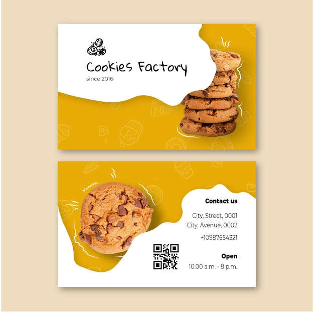 Cookies double sided business card Premium Vector