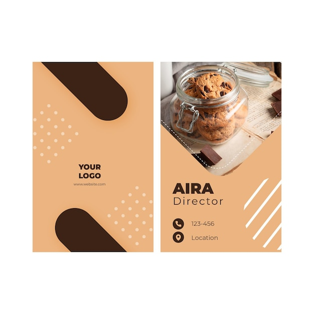 Cookies double-sided businesscard v Free Vector