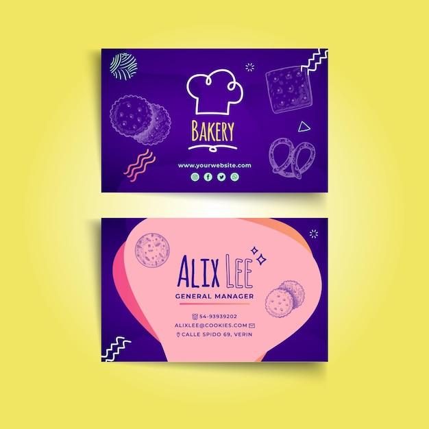 Печенье двусторонняя горизонтальная визитка Premium векторы