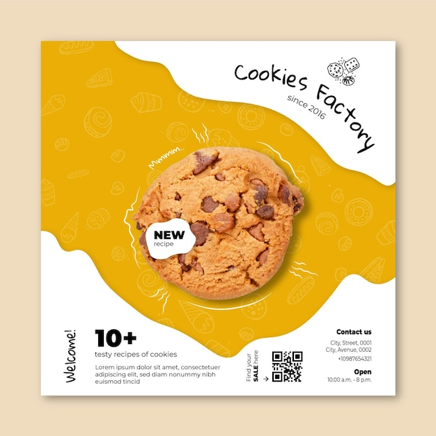 Cookies flyer square template Free Vector