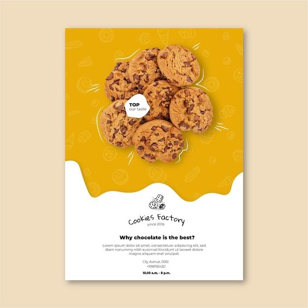 Modello verticale di volantino di biscotti Vettore gratuito