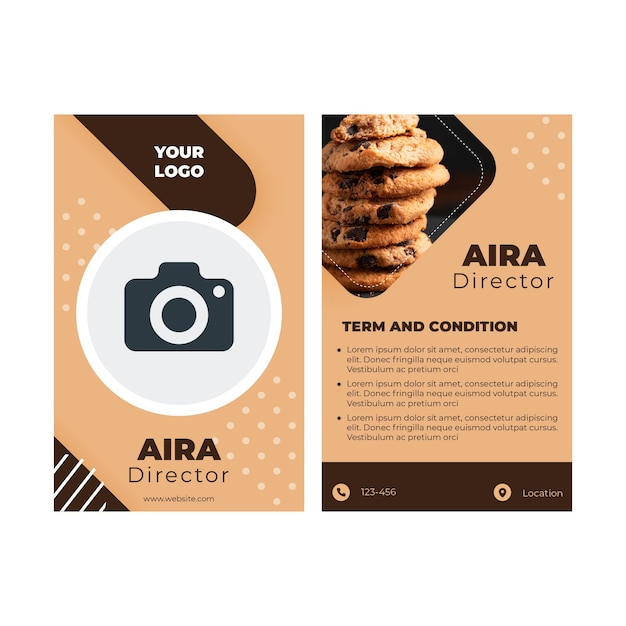 Cookies id card concept Free Vector