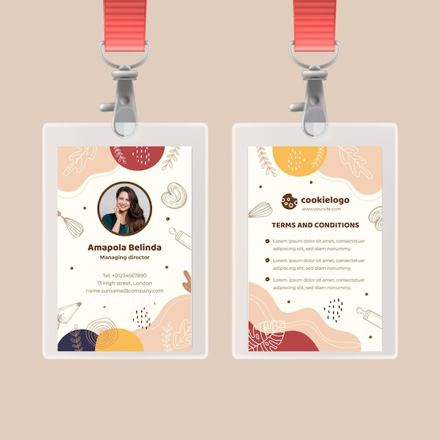 Cookies id card template Free Vector
