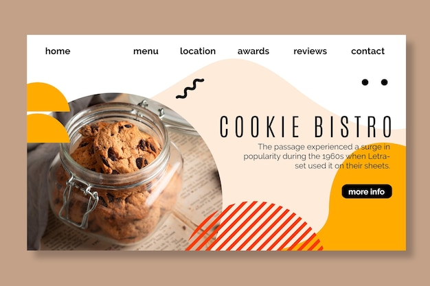 Cookies landing page template Free Vector