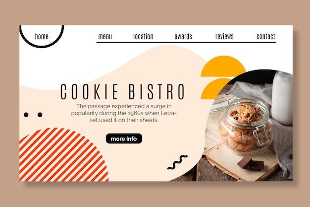 Cookies landing page template Premium Vector