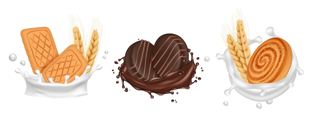 Cookies. milk chocolate splashes with biscuits.  realistic cooked sweets isolated on white background. illustration milk and biscuit, chocolate dessert Premium Vector