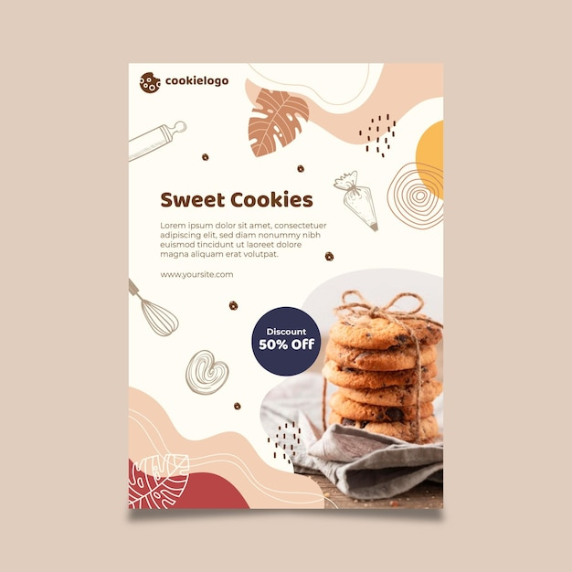 Cookies poster template design Free Vector