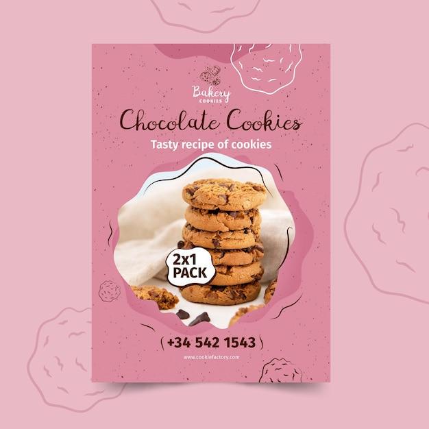 Шаблон плаката печенья с фото Бесплатные векторы