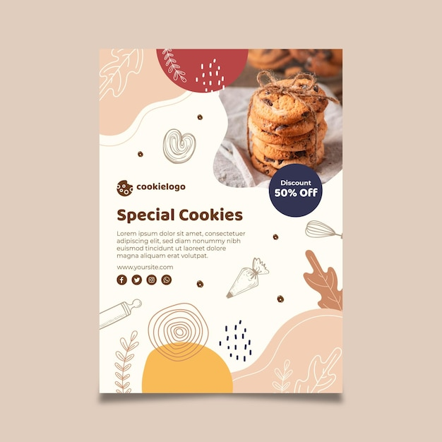 Cookies poster template Free Vector