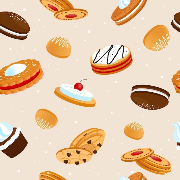 Cookies seamless pattern Free Vector