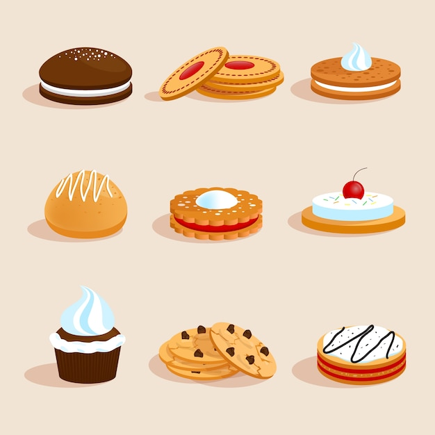 Cookies set isolated Free Vector