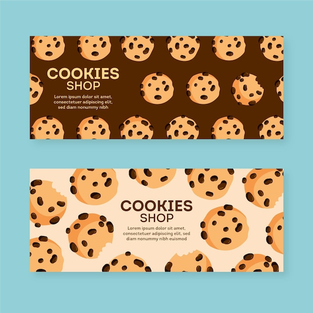 Cookies shop banner pack template Free Vector