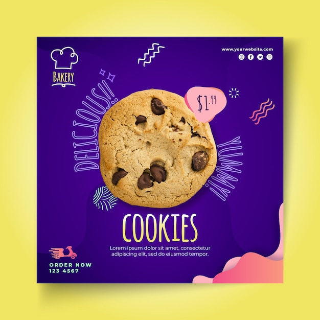 Cookies squared flyer template Free Vector