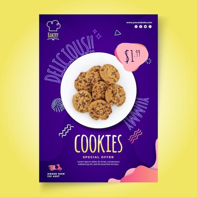 Cookies vertical flyer template Free Vector
