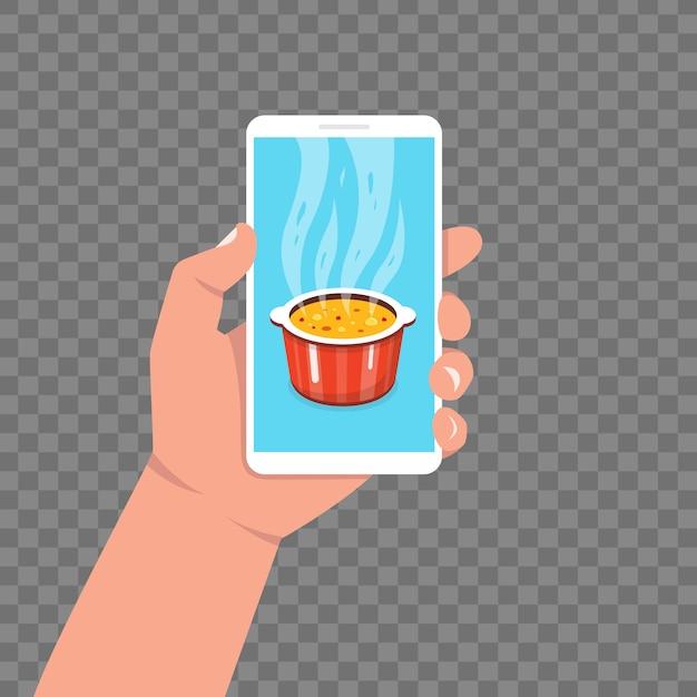Приготовление приложения на экране смартфона. приготовление супа на сковороде. горшок на плите с паром. иллюстрации. Premium векторы