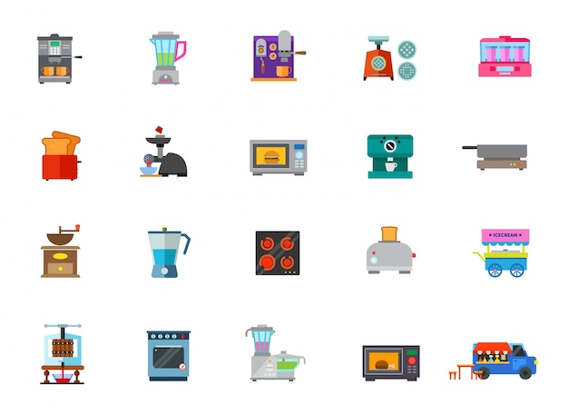 Cooking appliances icon set Free Vector