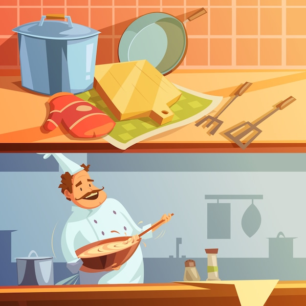 Cooking cartoon horizontal banners set with chef and kitchen utensils Free Vector