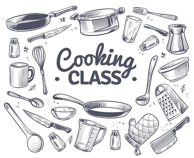 料理教室スケッチキッチンツール台所用品スープパンナイフとフォーク Premiumベクター
