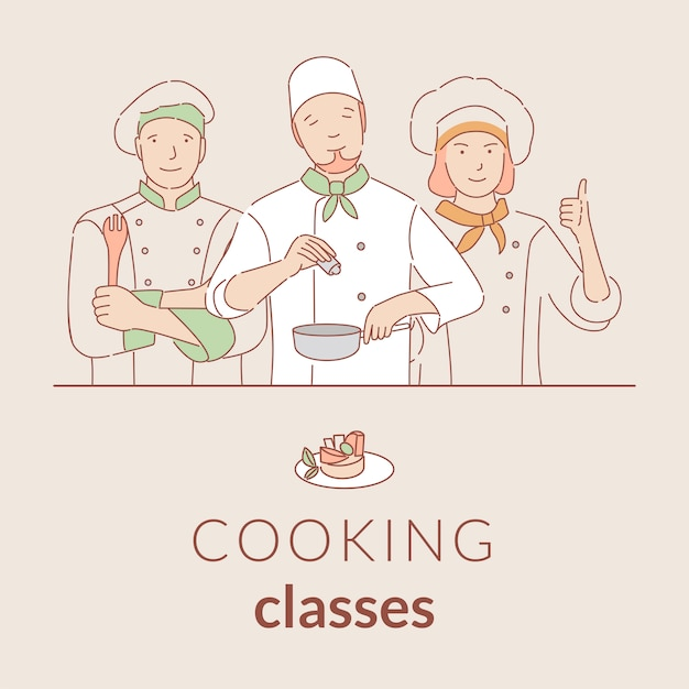 Cooking classes  banner template with text space. culinary courses cartoon outline poster . Premium Vector