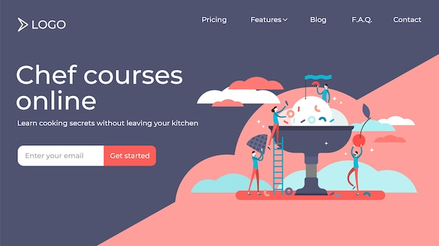 Cooking course flat tiny persons vector illustration landing page template design Premium Vector