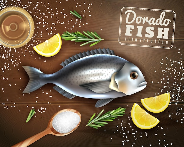 Cooking of dorado fish with spices  lemon and salt on wooden texture Free Vector