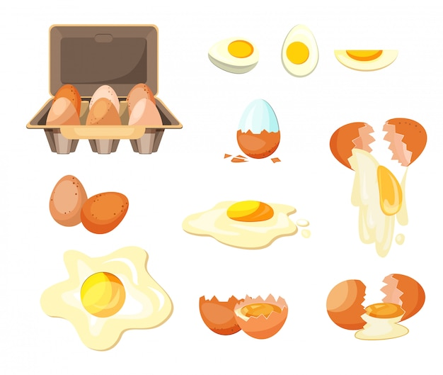 Cooking eggs set Free Vector