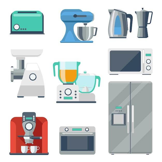 요리 장비 평면 아이콘을 설정합니다. 토스터 및 스토브, 주전자 및 믹서, 냉장고 및 분쇄기, 믹서기 개체. 무료 벡터
