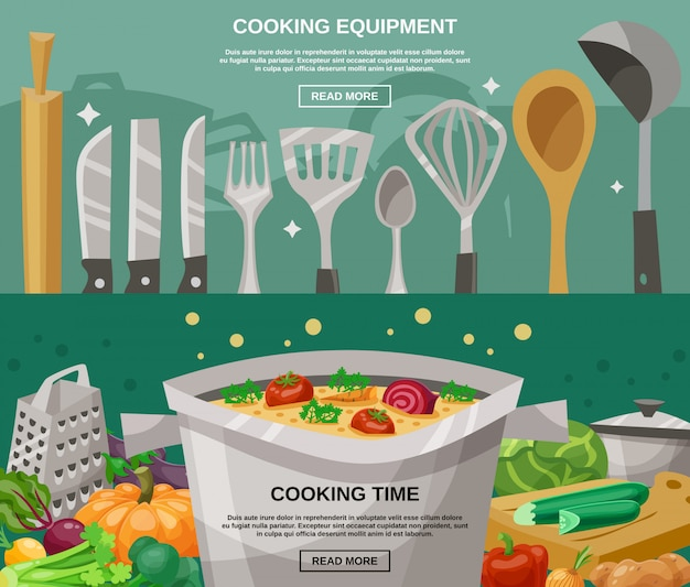 Cooking equipment and time banners set Free Vector