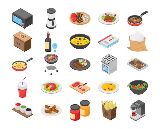 Cooking flat icons pack Premium Vector