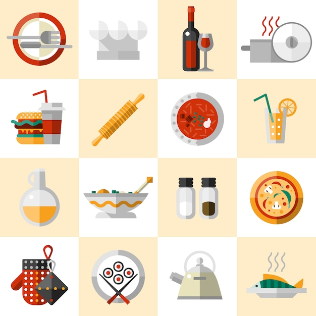 Cooking food icons set Free Vector