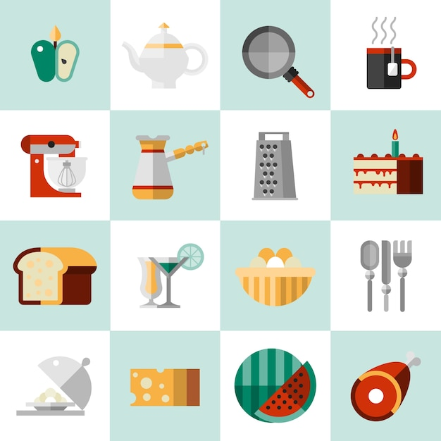 Cooking food icons Free Vector