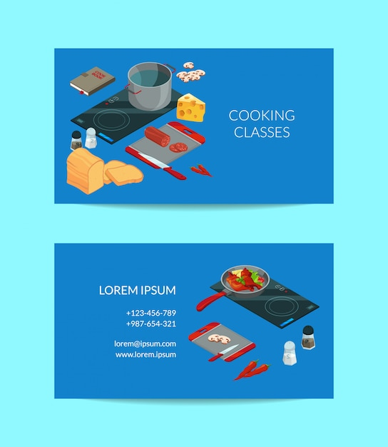 Cooking food isometric business card Premium Vector