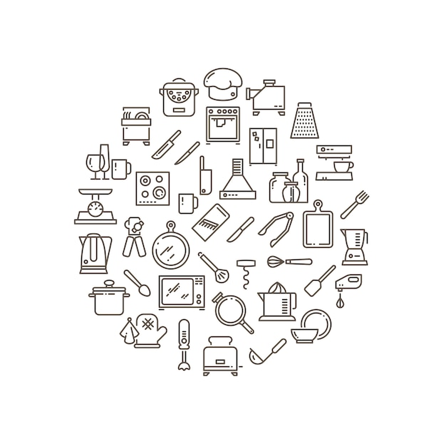 Cooking food in kitchen outline icons Premium Vector