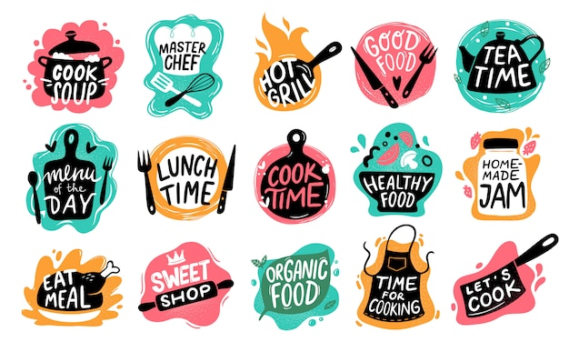 Cooking food lettering. kitchen badge logos, baking foods typography and cook labels set Premium Vector