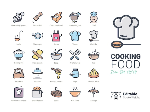 料理食品ベクトルアイコンコレクション Premiumベクター