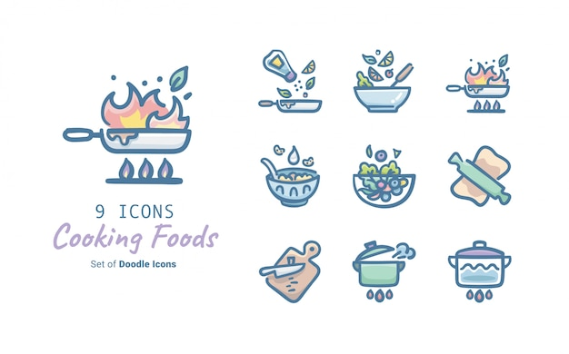 Cooking foods doodle icon collection Premium Vector