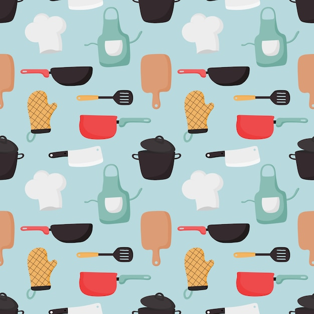 Cooking foods seamless pattern and kitchen icons set on blue background. Premium Vector